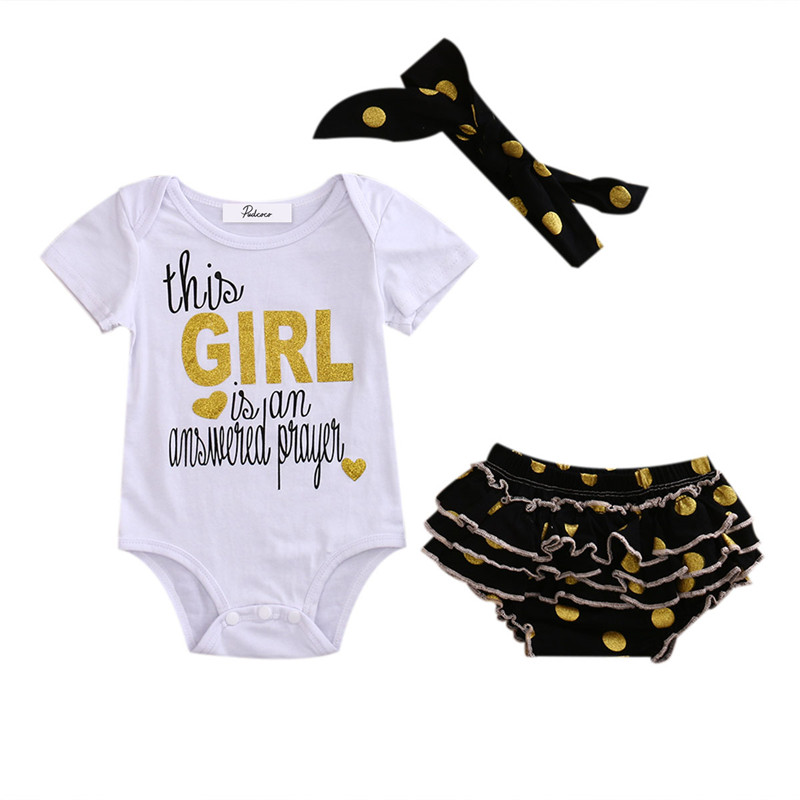 Infant Baby Girls Tops Romper this girl is an answered prayer Sequins Dot Ruffle Shorts Clothes Outfits Baby Set Clothing0-1T