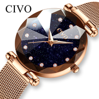 CIVO Fashion Ladies Watches Waterproof Steel Mesh Strap Bracelet Wristwatch Reloj Mujer Crystal Dress Watch For Women Bayan Saat
