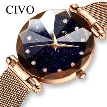 CIVO นาฬิกาแฟชั่นผู้หญิงตาข่ายกันน้ำสายนาฬิกาข้อมือนาฬิกาข้อมือ Reloj Mujer คริสตัลนาฬิกาผู้หญิง Bayan Saat