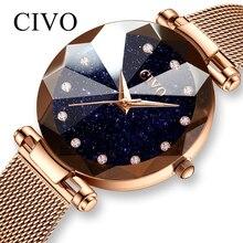 CIVO אופנה גבירותיי שעונים עמיד למים פלדת רשת רצועת צמיד שעוני יד Reloj Mujer קריסטל שמלת שעון לנשים ביאן Saat