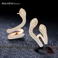 ANFASNI High Quality 925 Sterling Silver Woman Elegant Snake AAA Cubic Zirconia Rose Gold Color Luxury