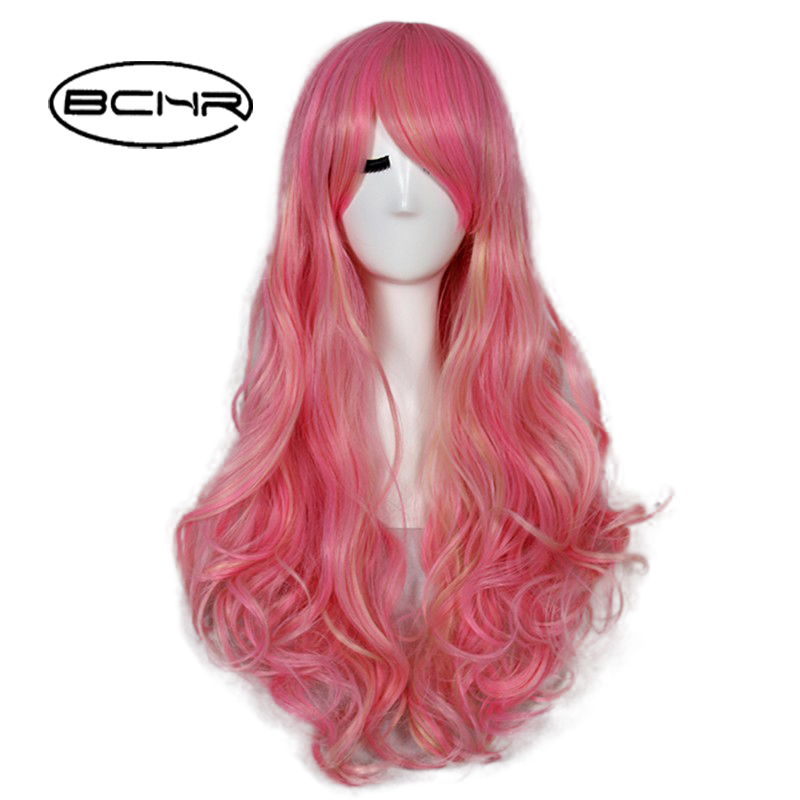 BCHR 23 Inch Long Wavy Cheap African American Fake Hair Cosplay Synthetic Pink/Golden Om ...
