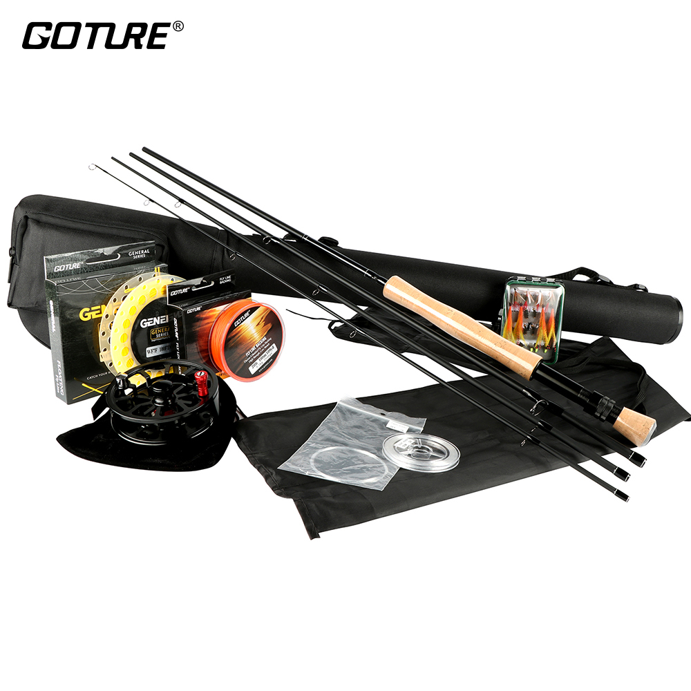 Goture Fly Fishing Rod And Reel Combo Set 5/6 7/8 100FT Weight Forward Main Line Backing/Leader Line  +Tippet free shipping 5 6 4 segments sections fly fishing rod full metal reel water proof rod bag lines box lure set kit