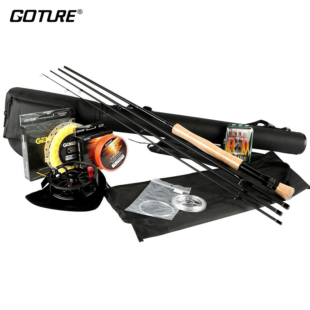 Goture mouche canne à pêche et bobine Combo ensemble 5/6 7/8 100FT poids avant ligne principale support/Leader ligne + Tippet