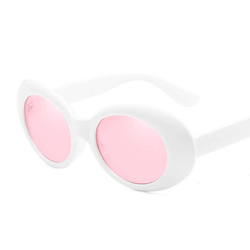 865ef5e04884e ... Kurt Cobain Oval Sunglasses Women Men Retro Round Mens Sun Glasses Pink  White Clout Goggles Hip ...