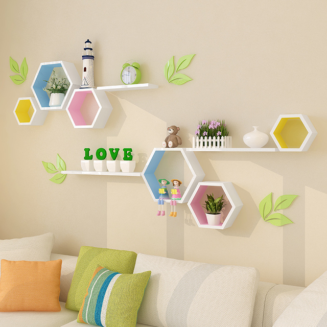 wooden wall decor modern village colored hexagon frame wall shelf hanging organizer christmas wall decorations for