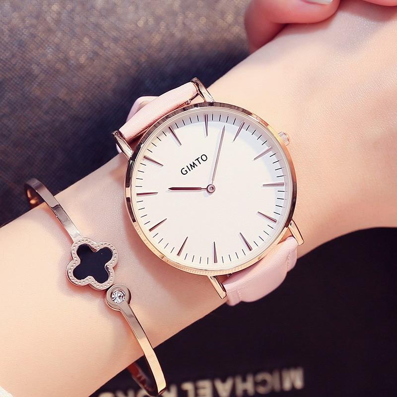 Fashion Simple Design Women Watches GIMTO Brand Wrist Watch Pink Leather Strap Luxury Clock For Ladies Quartz-watch Wristwatches julius women s watch for small wrist ladies top quality luxury blue wristwatches japan movement waterproof leather clock ja 1077
