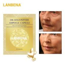 LANBENA 24K gold peptide wrinkle facial ampoules Capsule face cream day skin whitening Sera Anti-Aging lifting firming 30 grains
