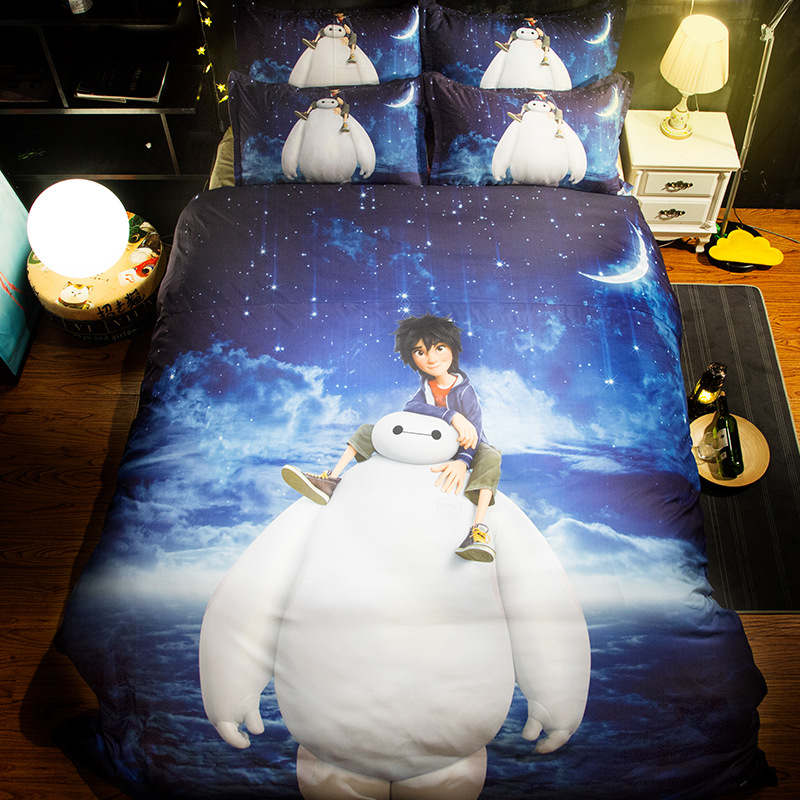 cartoon boys bed linens 3d white baymax duvet cover set 3/4 pcs kids teen child room decor single twin queen king size beddings