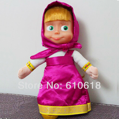 2015 New Arrival Russian Musical Masha and Bear Musical Dolls Baby Children Best Gift -Style A