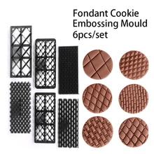 Fondant Estera de la Impresión de la galleta Galletas Molde de Estampación 6 unids/set Conjunto