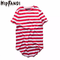 Mens Urban Style Clothing Longline T Shirts Extended Hipster Hip Hop Swag Short Sleeve Striped Oversized