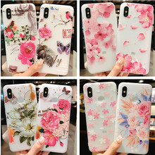 New fashion phone case 3D relief flower silicone for iphone XS MAX XR 5 6 7 8 plus  Rose floral OPPO soft TPU Cover