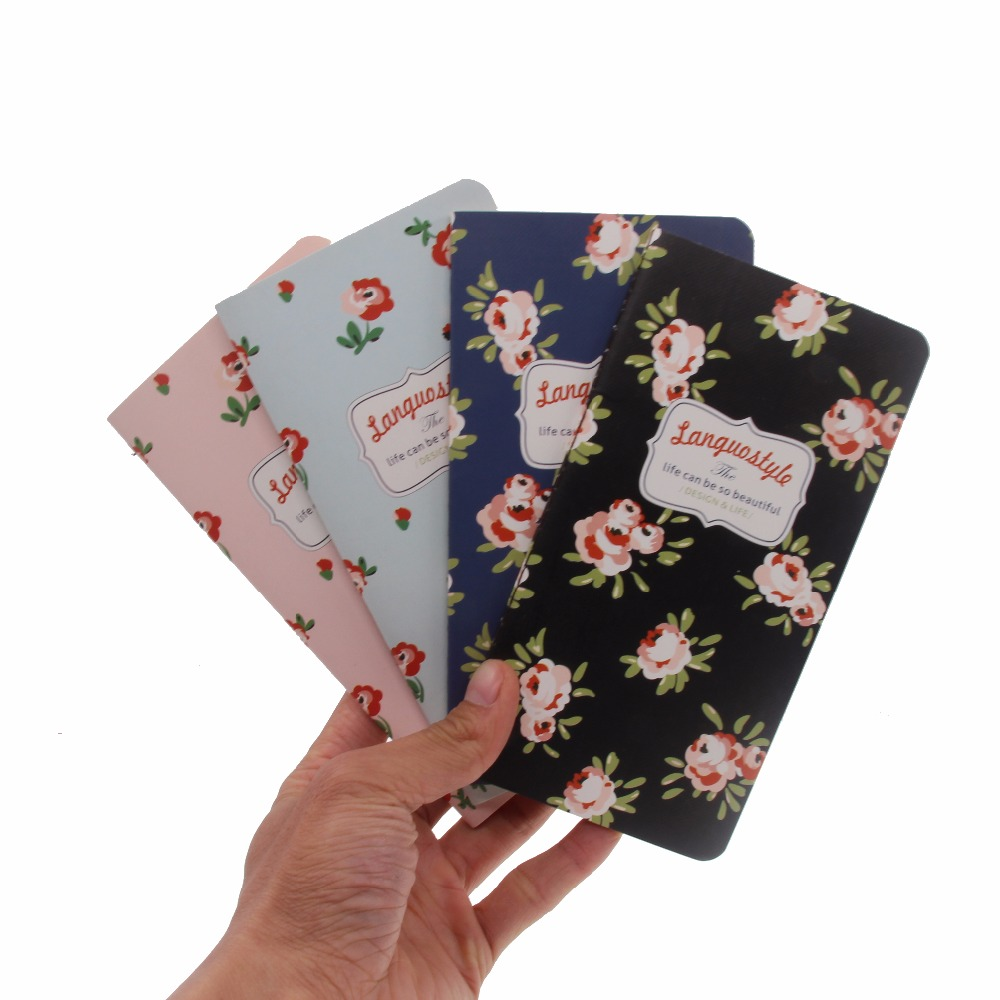 48K Mini Softcover Notebook Pocket Flower Notebook Journals Diary, Vintage Brown Page Paper, 173*90mm, 24 sheets/ 48 pages