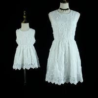 Summer Brand White Mammy And Baby Girls Holiday Dress Family Matching Clothes Evening Party Dress Mother
