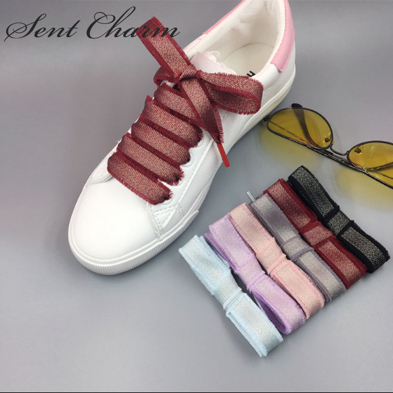 SENTCHARM New Arrival Fashionable Elegant Shoestrings For Girls Flat Ribbon Casual Shoes Strap 6 Colors
