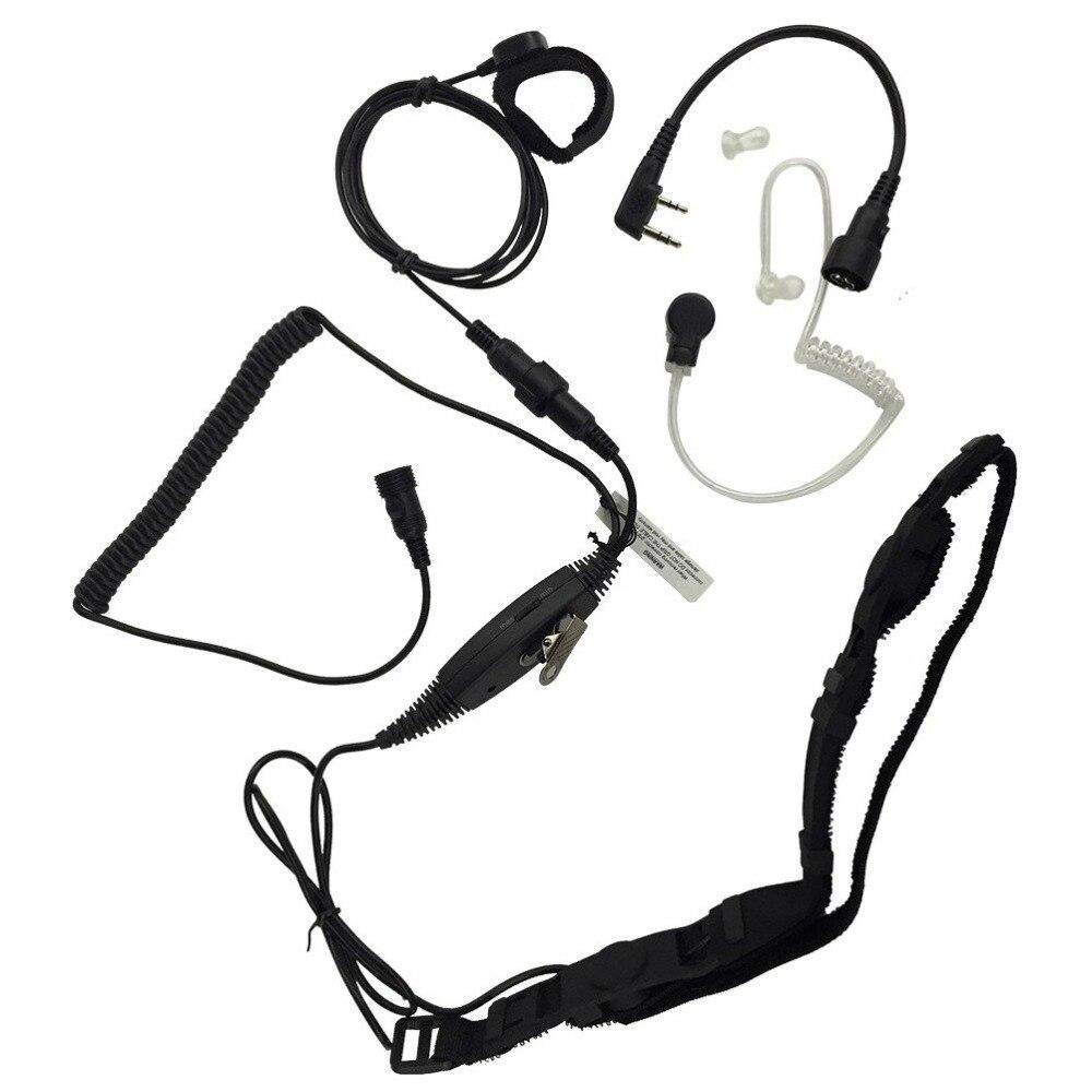imágenes para 2 pin heavy duty garganta o cráneo vibración micrófono para kenwood puxing quansheng baofeng uv5r 888 s md380 pd360 th-d7 kg-uvd1p
