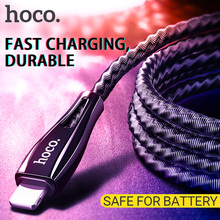 hoco cable usb a for Lightning fast charging data sync wire stainless steel spring braid cord charger Apple iphone ipad