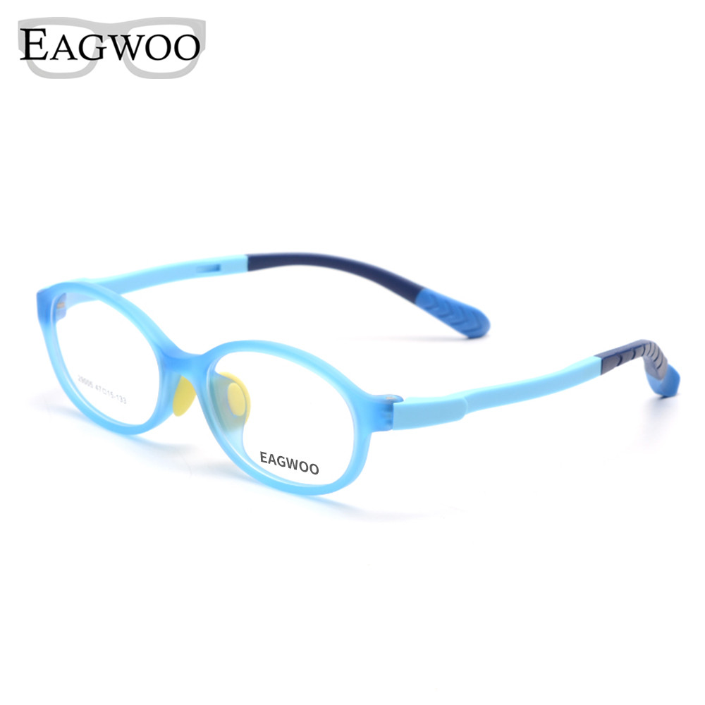 Eagwoo Silicon Soft  Eyeglasses Children Optical Frame Boy Girl Sepectacle with Plain Vision Lenses Clear Spectacle Pink 29005