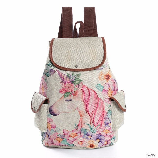 5f328c015bd63 Fashion Cartoon Unicorn Printed Linen Backpack Female Drawstring Design School  Bags for Teenage Girls Travel Rucksack