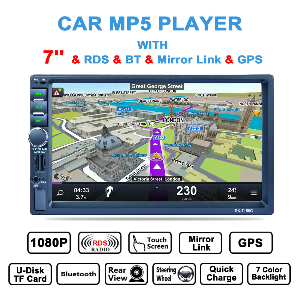 7'' 2 DIN Bluetooth Auto Multimedia Car Stereo MP5 Player GPS  AM/FM/RDS Radio Support Mirror Link/Aux In/Rear View Camera