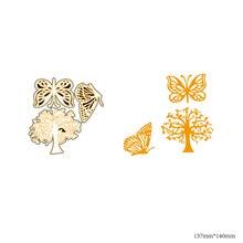AZSG Dancing butterflies and big trees Cutting Dies For DIY Scrapbooking Decorative Card making Craft Fun Decoration 13.7*14cm