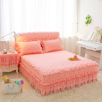 1 piece Lace Bed Skirt +2pieces Pillow cases Wedding Princess Bedding Girls Bedspread Bed sheet For Gifts King/Queen/Full size