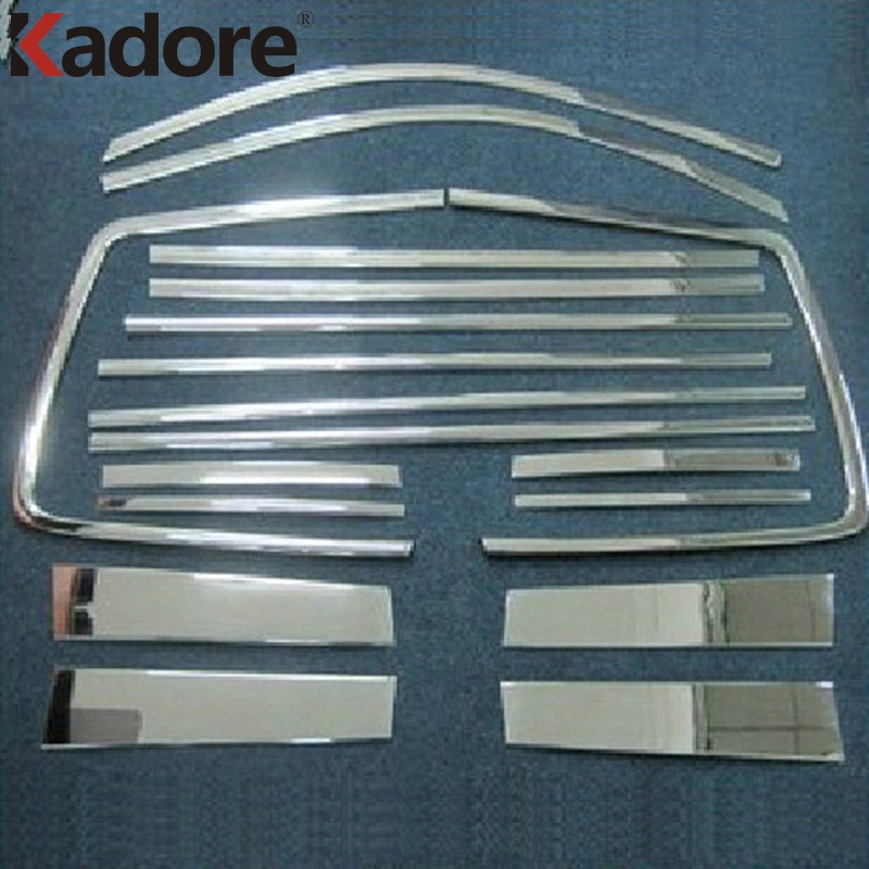 Car Styling Fit For Toyota Highlander 2008 2009 2010 2011 Stainless Steel Full Set Whole Window Strips+Center Pillar Trim 18pcs for vauxhall opel astra j 2010 2014 stainless steel window frame moulding trim center pillar protector car styling accessories