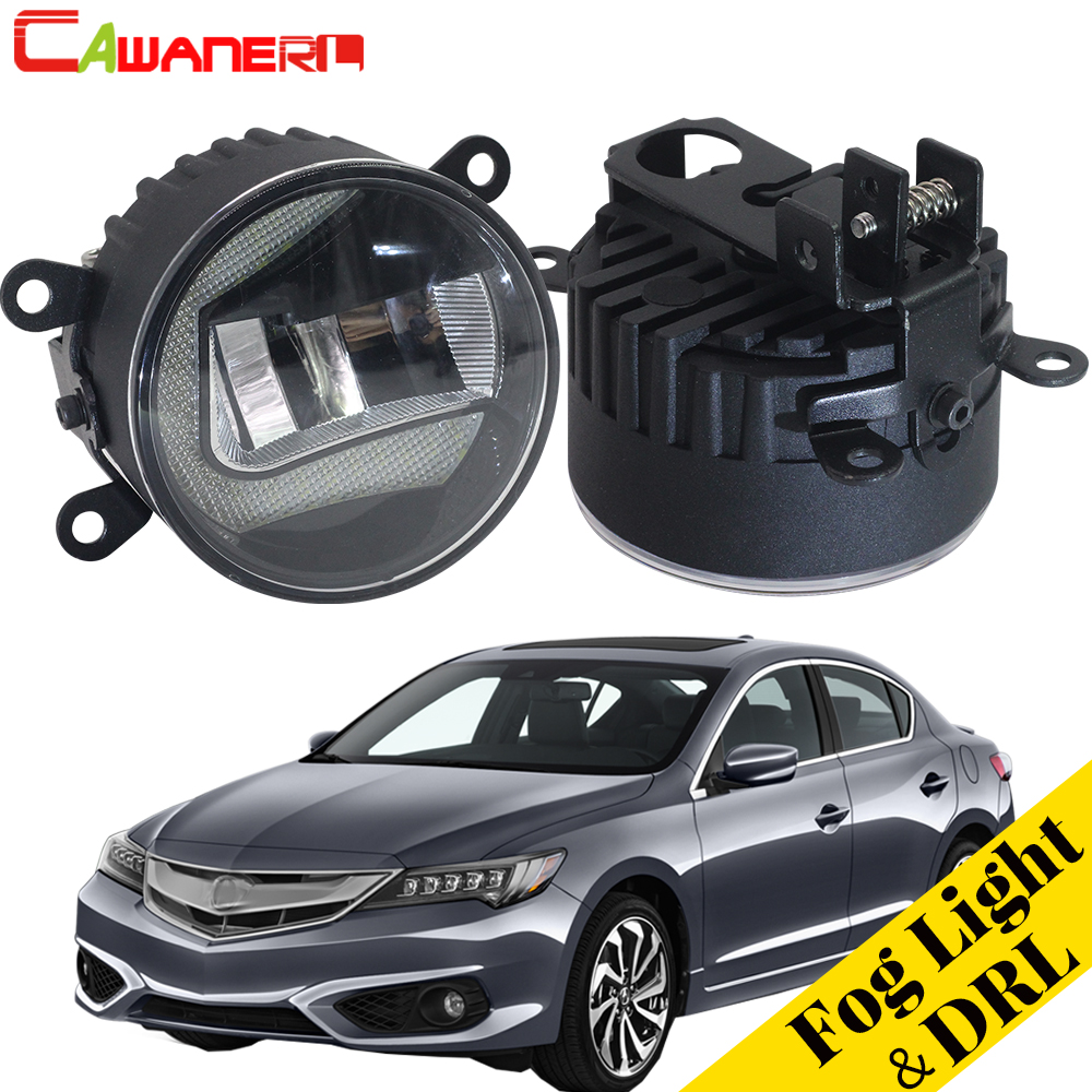 Cawanerl 2 Pieces Car Styling LED Fog Light Daytime Running Light DRL White 12V High Bright For Acura ILX 2013-2016