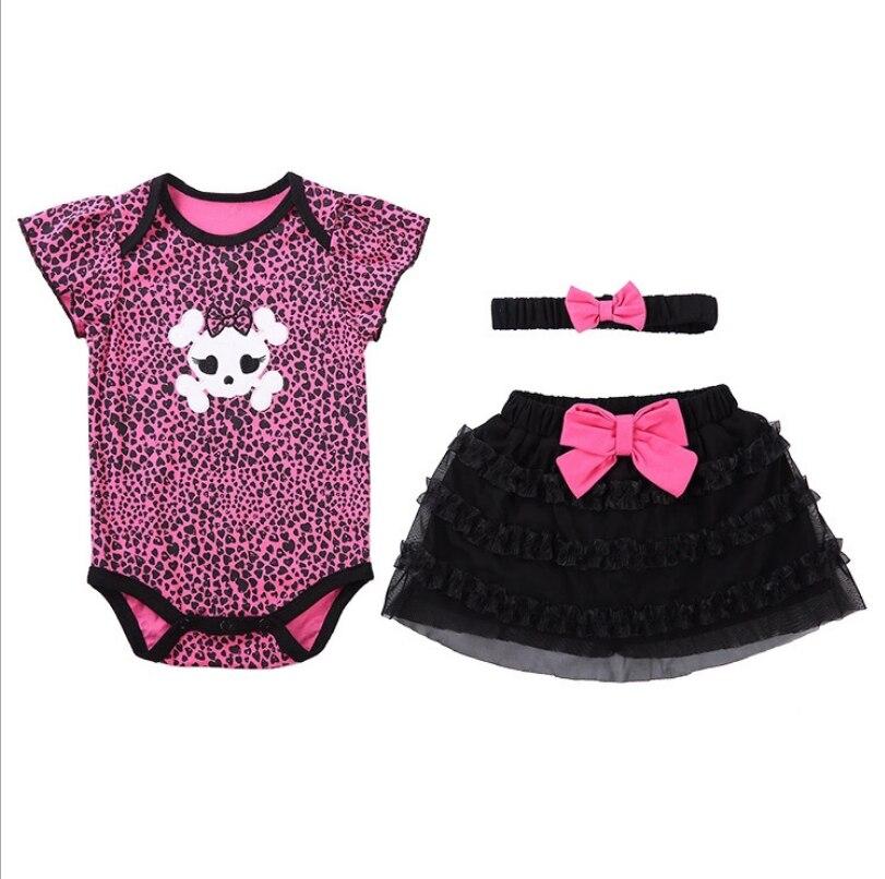 4 set/Lot Baby Bodysuits Cottonheaddress flower+Creeping suit+skirt Similar Jumpsuit Cartoon PrintedBodysuits dance party gifts