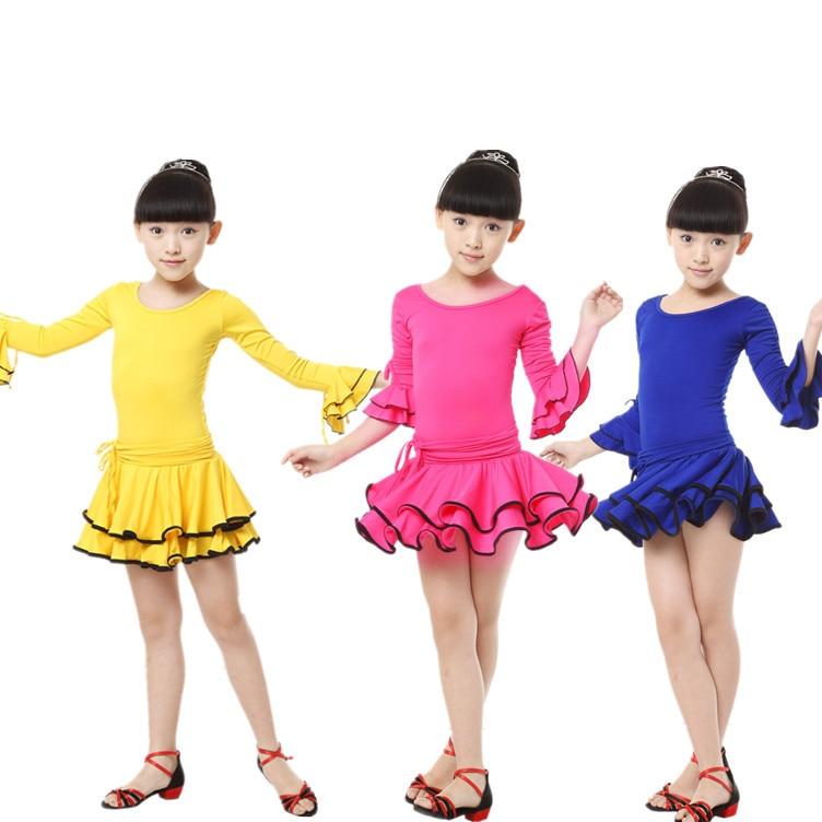 120241a24 تنورة الرقص اللاتينية ارتداء ملابس الأطفال اللباس الأحمر للبنات ازياء  الأطفال فساتين الرقص زي الرقص للأطفال