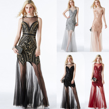 Hot Sparking Formal Dress Black Sequins Robe de soiree Vestidos Vintage Evening Party Dress Beading Sexy Women Dress CZ LF27