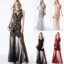 ホットスパーキングフォーマルドレス黒スパンコールローブ · ド · 夜会 Vestidos ヴィンテージイブニングパーティードレスビーズセクシーな女性ドレス CZ LF27