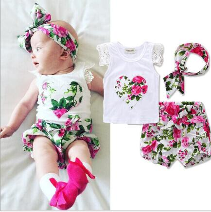 Newborn Baby Girls Clothes Summer Cotton Flower Girl Rompers+Short Pant+Girls Headband Lace Ruffled Infant Baby Toddler Clothing