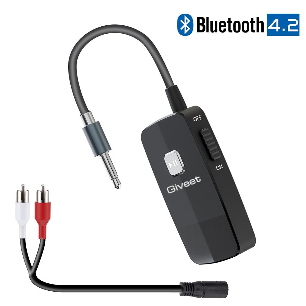 Bluetooth 4.2 receptor com 3.5mm rca jack adaptador de áudio de alta fidelidade sem fio portátil para casa música estéreo streaming ou alto-falante do carro
