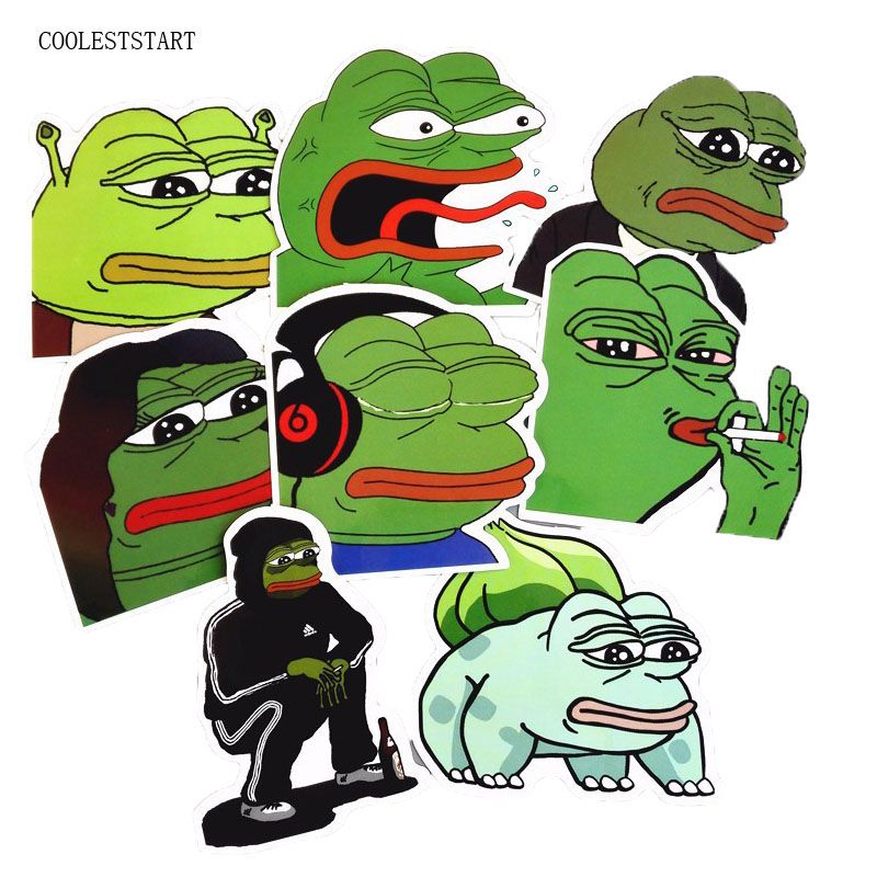 8Pcs/Lot Pepe Sad Frog Funny Sticker For Car Laptop Luggage Skateboard Motorcycle Snowboard Phone Decal Toy Stickers dc vinyl sticker decal jdm for euro ski skateboard snowboard jap car block