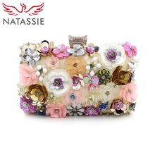 NATASSIE Women Embroidery Flower Bags Female Floral Beaded Bag Clutches Purses With Chain