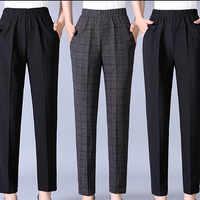 Autumn Winter Middl Aged Women Warm Velvet Elastic Waist Casual Straight Pants Female Trousers Plus Size Clothing