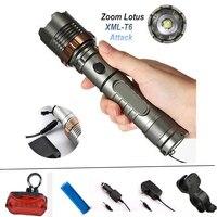 Lotus Attacher La Tête CREE XML T6 LED Tactique lampe de Poche Mécanique Zoom Torche Étanche Chasse vélo Lumière Lanterne 18650 Batterie