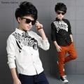 Marca Tommu Carino Escuela de Impresión Cebra de la Manera Camisas para los muchachos ropa 10 años Camisa de Manga Larga Blanco Negro 5-16 Años Niño Grande