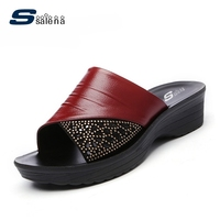 Brand Slippers Women Leather Breathable Mesh Outdoor House Slippers Women Casual Shoes Fashion Cool Slippers AA10116