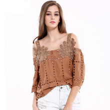 New Arrival 2017 women Loose Cotton Sexy Street Wear Hollow Camis shirts Lady Appliques Floral Vintage Tops Clothings SLYA05