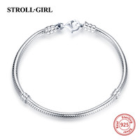 Hot sale strollgirl Snake Chain real 925 Sterling Silver original Charms Bracelet luxury Fashion Jewelry making for women gifts