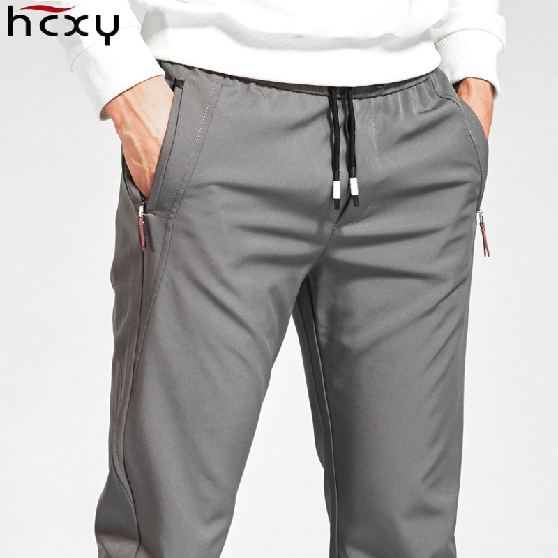 HCXY 2019 New Brand Autumn Winter Casual Men's Pants Men Warm Elastic Waist Pants Male Fast-drying Plus Velvet Trousers For Men