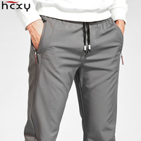 HCXY 2019 New Brand Spring Autumn Casual Men's Pants Men Elastic Waist Pants Male Fast drying Stretch fabric Drawstring