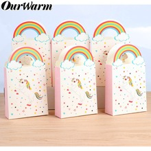OurWarm 10Pcs Kraft Paper Unicorn Gift Bags Wrapping Sweets Candy Packaging Pouches for Baby Shower Birthday Party Supplies