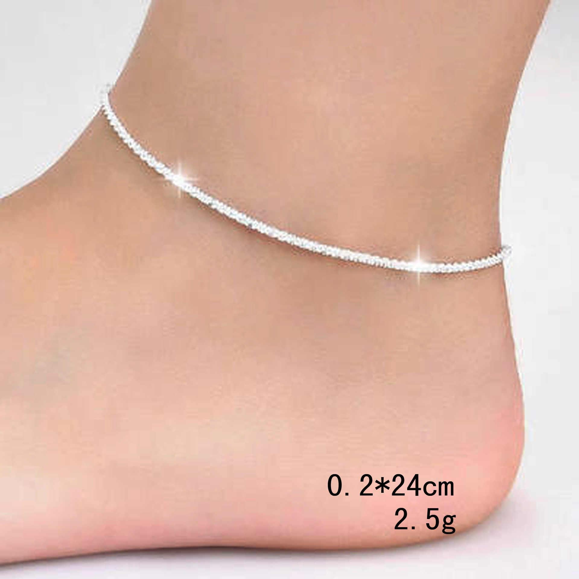 クラシック波チェーン女性シルバーメッキリンクチェーン足の宝石類のギフトのための