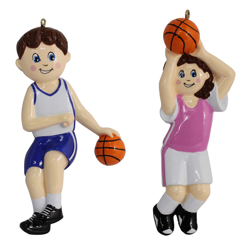 Maxora Basketball Boy Girl Polyresin Glossy Sports Christmas Ornaments Personalized Gifts or For Home Decor