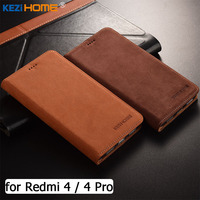 For Xiaomi Redmi 4 Pro Case KEZiHOME Matte Genuine Leather Flip Stand Leather Cover Capa For