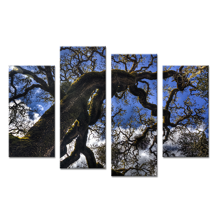 4PCS big tree skyline Wall painting print on canvas for home decor ideas paints on wall pictures art No framed